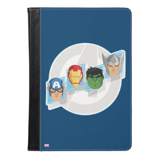 Avengers Character Faces Over Logo iPad Air Case