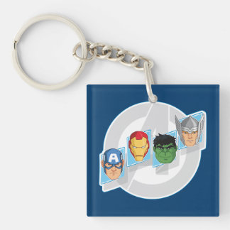 Avengers Character Faces Over Logo Keychain