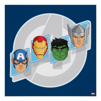 Avengers Character Faces Over Logo Poster