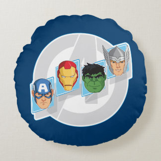 Avengers Character Faces Over Logo Round Pillow