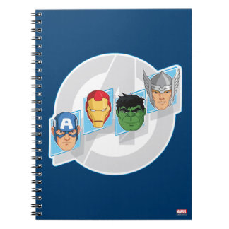 Avengers Character Faces Over Logo Spiral Notebook