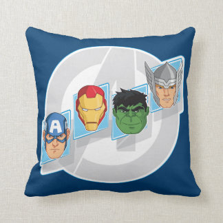 Avengers Character Faces Over Logo Throw Pillow