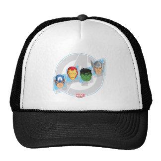 Avengers Character Faces Over Logo Trucker Hat
