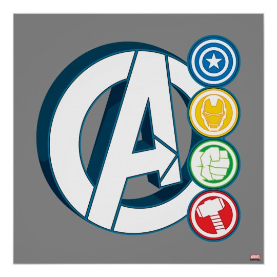 avengers character logos avengers character logos poster