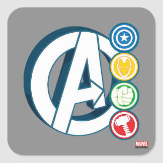 Avengers Character Logos Square Sticker
