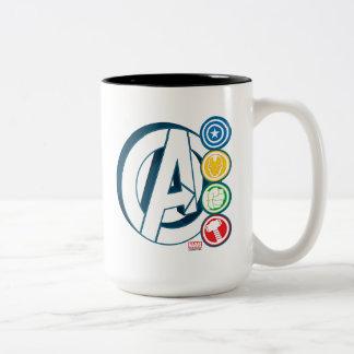 Avengers Character Logos Two-Tone Coffee Mug