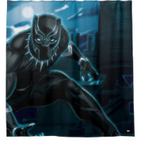 Avengers Classics | Black Panther On Rooftop Shower Curtain