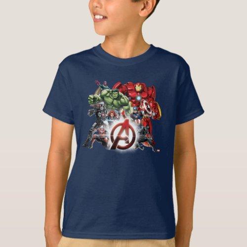Avengers Classics  Glowing Logo Avengers Group T_Shirt