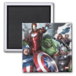 Avengers Classics | Poised For Battle Drawing 2 Inch Square Magnet