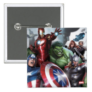 Avengers Classics   Poised For Battle Drawing Pinback Button