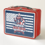 "Avengers Classics | Retro Captain America Liberty Metal Lunch Box<br><div class=""desc"">Check out this retro Captain America flag graphic featuring his name and the phrase ""Sentinel Of Liberty"" written across a banner below.</div>"