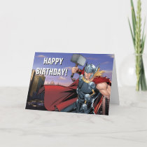 Avengers Classics | Thor Leaping With Mjolnir Card