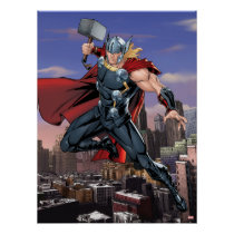 Avengers Classics | Thor Leaping With Mjolnir Poster