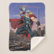 Avengers Classics | Thor Leaping With Mjolnir Sherpa Blanket