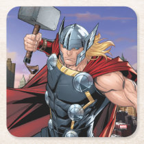 Avengers Classics | Thor Leaping With Mjolnir Square Paper Coaster
