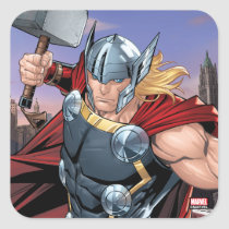 Avengers Classics | Thor Leaping With Mjolnir Square Sticker