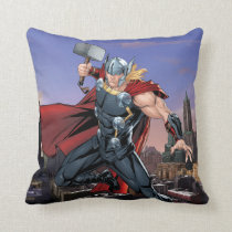 Avengers Classics | Thor Leaping With Mjolnir Throw Pillow