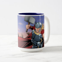 Avengers Classics | Thor Leaping With Mjolnir Two-Tone Coffee Mug