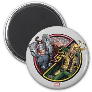 Avengers Classics | Thor Versus Loki 2 Inch Round Magnet