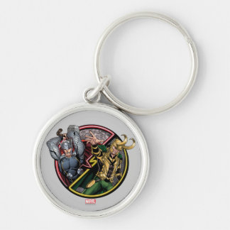 Avengers Classics | Thor Versus Loki Silver-Colored Round Keychain