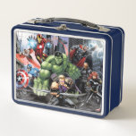 """Avengers Defending City Metal Lunch Box<br><div class=""""desc"""">Avengers Assemble   This cartoon artwork features the Avengers Captain America,  Falcon,  Iron Man,  Hulk,  Hawkeye,  Thor,  Nick Fury,  and Black Widow posed ready to defend the city.</div>"""
