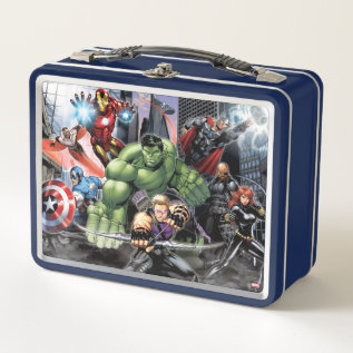 Avengers Defending City Metal Lunch Box at Zazzle