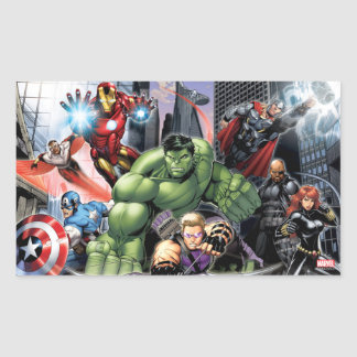 Avengers Defending City Rectangular Sticker