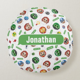 Avengers Emoji Characters Text Pattern Round Pillow