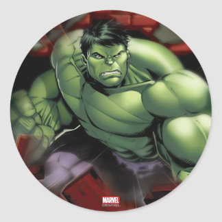 Avengers Hulk Smashing Through Bricks Classic Round Sticker