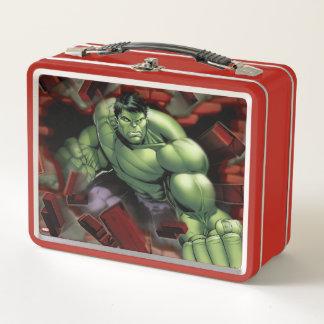 Avengers Hulk Smashing Through Bricks Metal Lunch Box