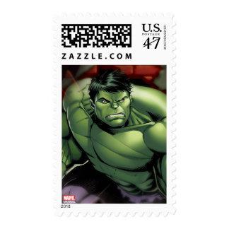 Avengers Hulk Smashing Through Bricks Stamp