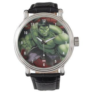 Avengers Hulk Smashing Through Bricks Wrist Watch