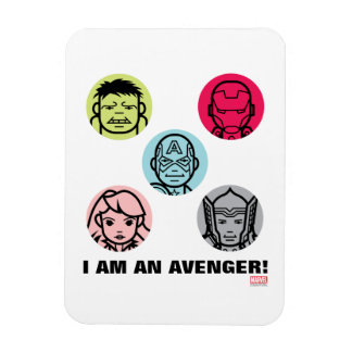 Avengers Stylized Line Art Icons Pattern Rectangular Photo Magnet