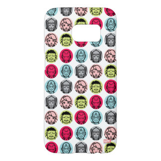 Avengers Stylized Line Art Icons Pattern Samsung Galaxy S7 Case