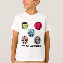 Avengers Stylized Line Art Icons Pattern T-Shirt
