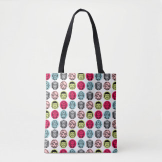 Avengers Stylized Line Art Icons Pattern Tote Bag