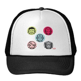 Avengers Stylized Line Art Icons Pattern Trucker Hat