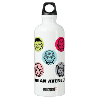 Avengers Stylized Line Art Icons Pattern Water Bottle