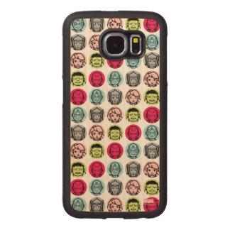 Avengers Stylized Line Art Icons Pattern Wood Phone Case