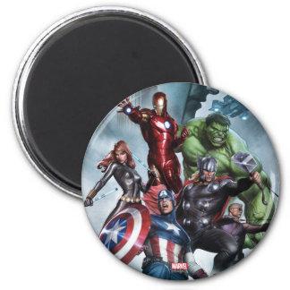 Avengers Versus Loki Drawing 2 Inch Round Magnet