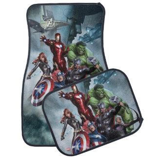 Avengers Versus Loki Drawing Car Floor Mat