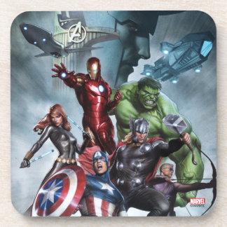 Avengers Versus Loki Drawing Drink Coaster