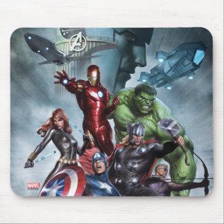 Avengers Versus Loki Drawing Mouse Pad