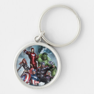 Avengers Versus Loki Drawing Silver-Colored Round Keychain