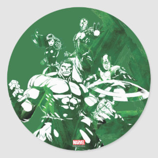 Avengers Watercolor Graphic Classic Round Sticker