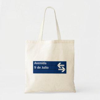 Avenida 9 de Julio, Buenos Aires Street Sign Canvas Bags