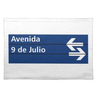 Avenida 9 de Julio, placa de calle de Buenos Aires Manteles Individuales