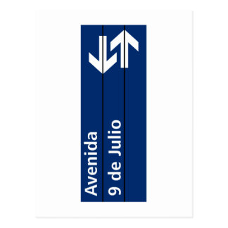 Avenida 9 de Julio, placa de calle de Buenos Aires Postales