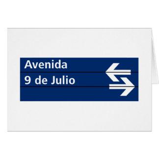 Avenida 9 de Julio, placa de calle de Buenos Aires Tarjeta De Felicitación