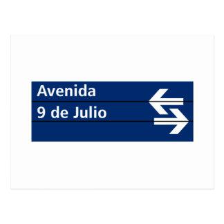 Avenida 9 de Julio, placa de calle de Buenos Aires Tarjetas Postales